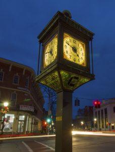 Clock tower in downtown Bennington